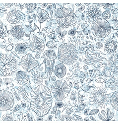 Hand drawn underwater world seamless background vector