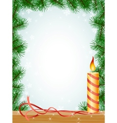 christmas fir branches frame candle ribbon vector image