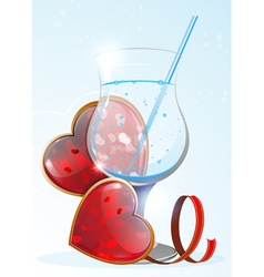 Transparent drink and valentines hearts vector