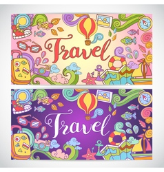 Doodle art with summer travel theme vector