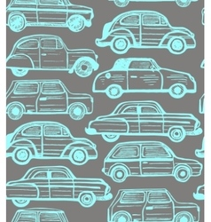 Seamless dark background with retro cars vector
