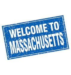 Massachusetts blue square grunge welcome to stamp vector