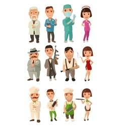 Set icon character cook mafia doctor waiter vector