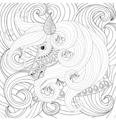 Adult coloring book with gorse head with long vector image vector image