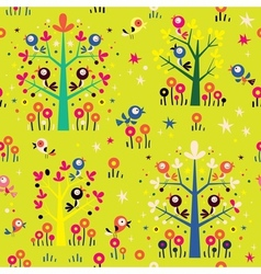 Birds in the trees nature forest seamless pattern vector