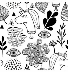 Black and white seamless pattern with head of dead vector