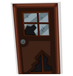 brown door with broken window vector image vector image