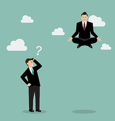 Businessman meditating over his competitor vector