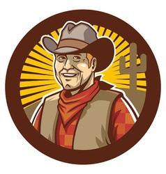 cowboy smile vector image vector image