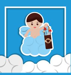 Cute cupid angel love holding case arrow clouds vector