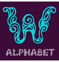 Doodle hand drawn sketch alphabet letter w vector