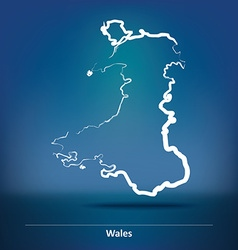 Doodle map of wales vector