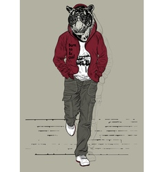Fashion man with the head of tiger vector