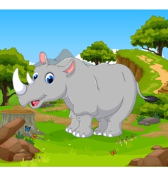 funny rhino cartoon in the jungle vector image