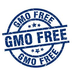 Gmo free blue round grunge stamp vector