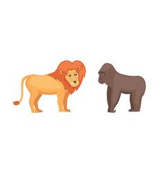 gorilla monkey and lion savanna animals in cartoon vector image vector image