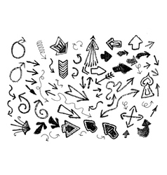 Hand drawn arrow icon set vector
