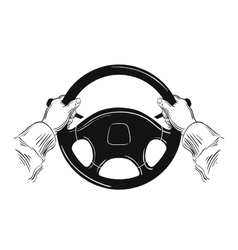 Hands on car steering wheel isolated on white vector