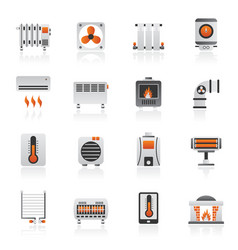 home heating appliances icons vector image vector image