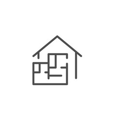 house blueprint line icon vector image