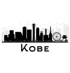 Kobe city skyline black and white silhouette vector