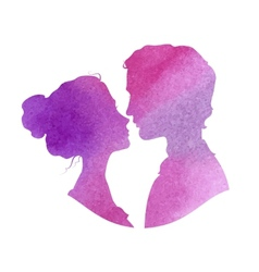 Profile silhouettes of man and woman watercolor vector