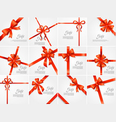 set gift red wide ribbon bright bow with two vector image