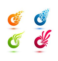 Set of minimal geometric multicolor elements vector