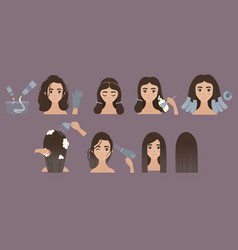 Steps to change hair color hair styling ombre vector