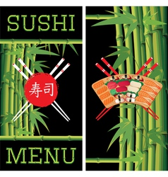 template for sushi menu with bamboo vector image vector image