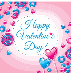 Valentines day card with candies vector