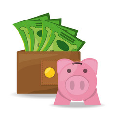 Wallet with money and piggy bank concept over vector