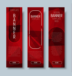Web banners with abstract polygonal red background vector