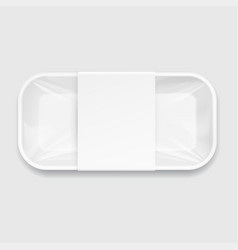 White styrofoam food tray pack vector