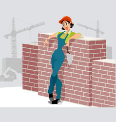 woman worker on construction site vector image