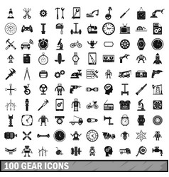 100 gear icons set simple style vector