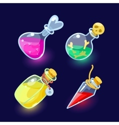 Glass flasks with colorful liquids vector