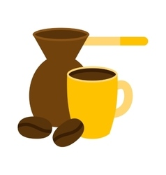 Ibrik cezve coffee time vector