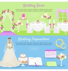 Wedding decor and preparations web banner vector