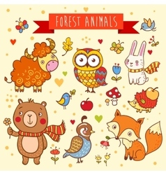 Set of wild animals in the forest vector