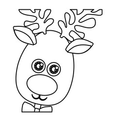 Monochrome contour of christmas reindeer face vector