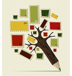 Stamp icon pencil tree concept vector