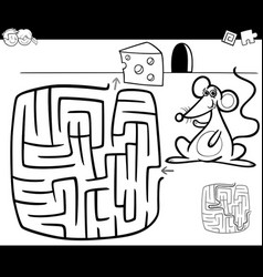 Maze with mouse coloring page vector