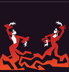 Couple of flamenco dancers in expressive vector