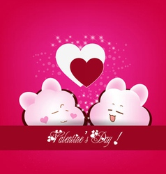Greeting card with two hearts emotions vector