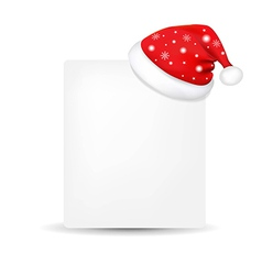 Xmas blank gift tag with santa claus cap vector