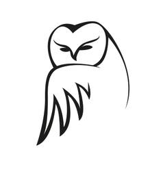 Black and white doodle owl sketch vector