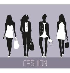 Fashion women shopping vector image
