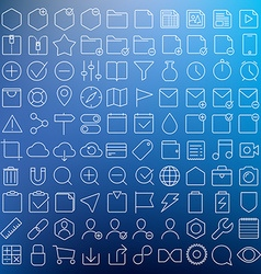 Universal gui thin line icons set vector