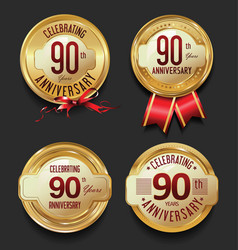 Anniversary retro golden labels collection 90 vector